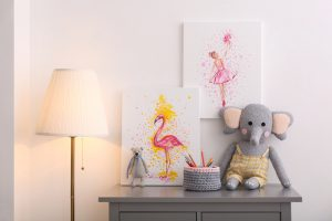 Chest,Of,Drawers,And,Beautiful,Pictures,In,Children's,Room.,Interior